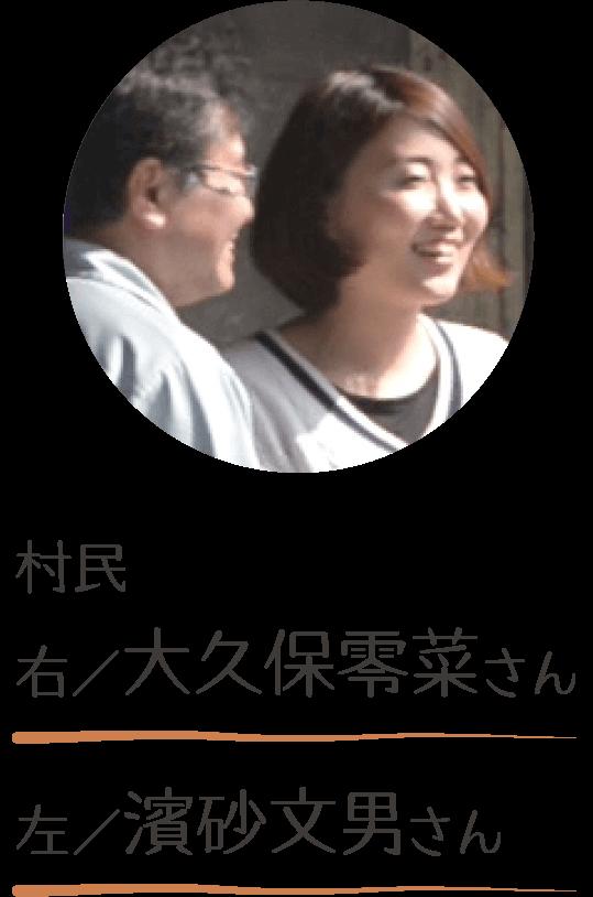 村民 右/大久保零菜さん 左/濱砂文男さん